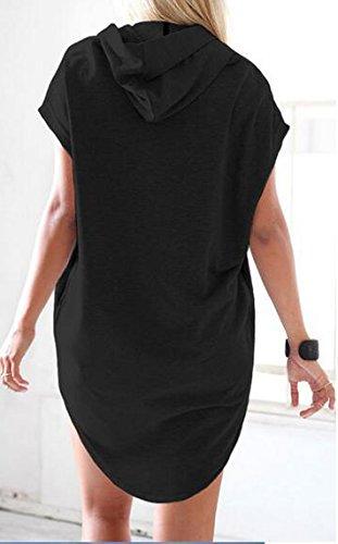 Vestiti Donna Estivi Corti Elegante Maglie Con Cappuccio Sciolto Casual Colori Solidi Abiti Irregolare Manica Corta Con Tasca Abito Nero