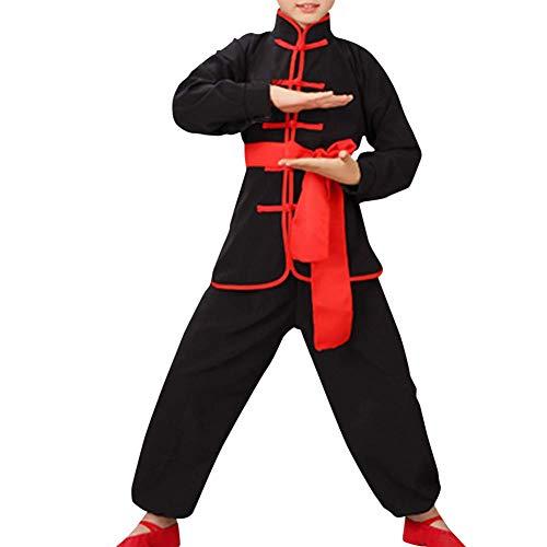 Qduoduo Niños Niñas Conjuntos de niños Wushu Shaolin Taiji Disfraces de Wushu Kung Fu Ropa de Entrenamiento para Estudiantes Chino Tradicional Artes Marciales Uniformes Negro