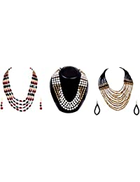 Twella Creations Stunning Combo Of 3 Multicolored Stones, Pearls, Metal And Glass Beads Necklaces For Women