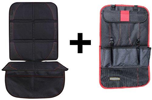MiniMo&Me - Premium Set aus Kindersitzunterlage und Rückenlehnenschutz für Kinder - isofix-geeignete Autositzauflage & Rücksitzorganizer für Kinder