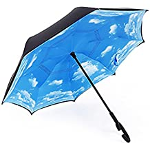 JJPRIME Paraguas Cortavientos, invertido, Plegable, de Doble Capa Auxiliar, con asa Estable