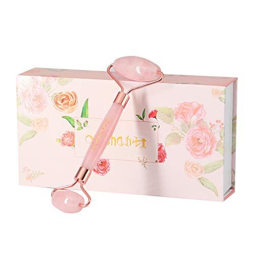 Preisvergleich Produktbild ECHTE Rosenquarz Roller von Omshanti - natürliche Massagegerät für Gesicht,  beste anti-aging Roller,  Gesichtsmassagegerät - so enstpannst du perfekt