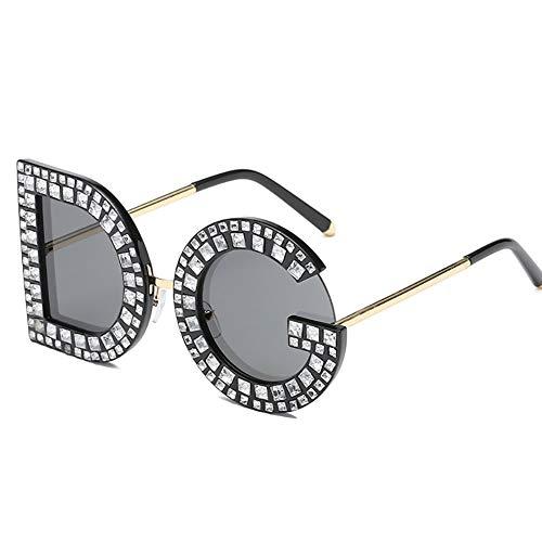TOOSD Vintage Sonnenbrillen Unisex Persönlichkeit Brief Sonnenbrillen DG Diamant Sonnenbrillen UV400 Brillen Geeignet Fahren Strand Mode Reisen,B