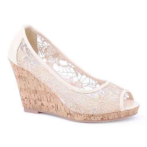 Damen Sandalen Lack Glitzer Zehentrenner Freizeit High-Heels Fransen Espadrilles Keilabsatz Ballerinas Sandaletten Metallic Schuhe Aachen-Beige