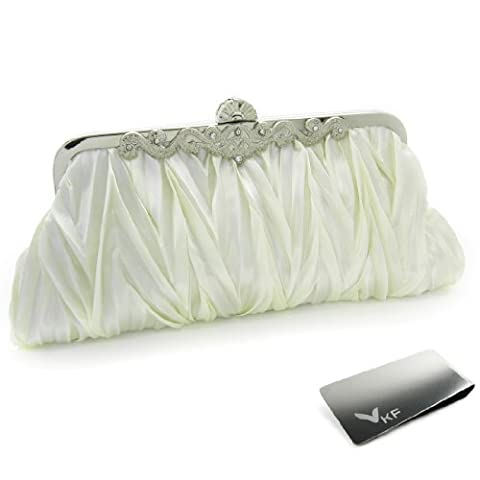 Missy K Pleated Clutch Purse, Satin, with 2 Detachable Straps - Off white + kilofly Money Clip