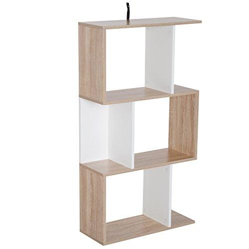 Homcom libreria da parete moderna con 3 ripiani legno naturale e bianco, 60x24x111.4cm