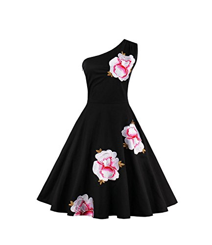 FStory Damen Kleider Trägerlos Knielanges Rockabilly Cocktailkleider Vintage 57er Abendkleid Dress...