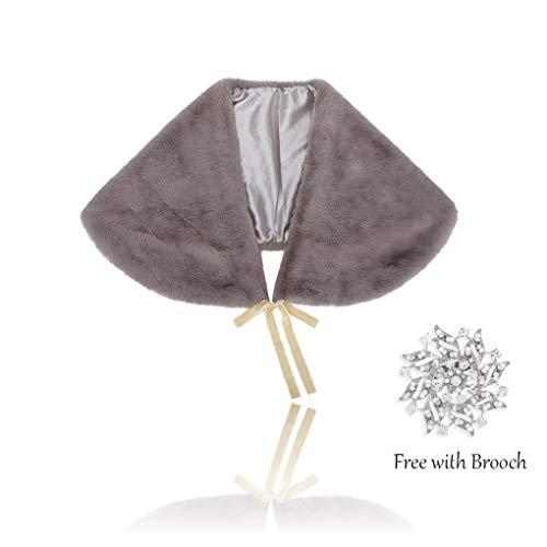 t Kunstfell Schal und Wickeltuch Brautfell Stola Cape Fell Schal mit Band für Braut und Brautjungfern - grau - Einheitsgröße ()
