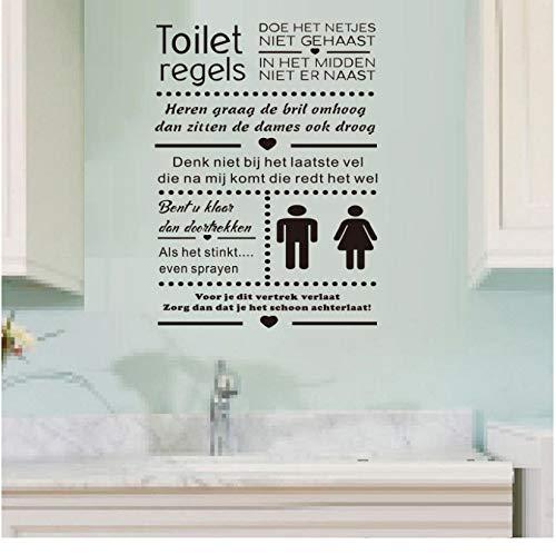 mzdzhp Wandaufkleber [mzdzhp]Toilette Regeln Aufkleber Kunst Vinyl Wandaufkleber Dekoration Tapeten können angepasst werden Personalisierte Wand-Stick -