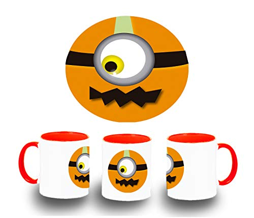 MERCHANDMANIA ROT Becher Pumpkin Emoticon Halloween Color Ceramic