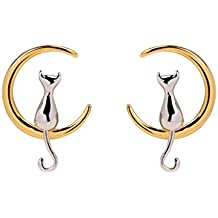 ANBALA Cute 925 Sterling Silver Cat On Moon Stud Earrings Moon Cat Earrings for Women Girls, Perfect Gift for Cat Lovers