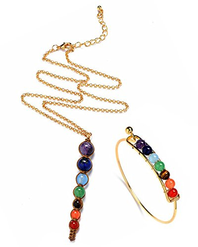 """Young & Forever """"D'vine Collection"""" Rainbow 7 Chakra Stone Pendant Gemstone Necklace & Bracelet for Women bracelets for girls (N80436) diwali Gift special"""