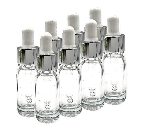 10ml Bouteilles en Verre Transparent avec Premium Argent et Blanc Pipettes-Lot de 8
