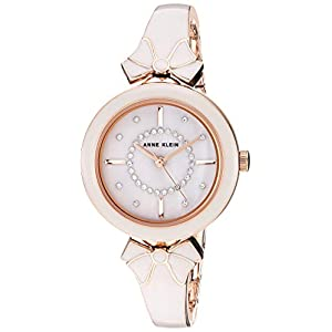 Anne Klein Women's AK/3338GYRG Swarovski Crystal Accented Rose Gold-Tone and Light Grey Bangle Watch