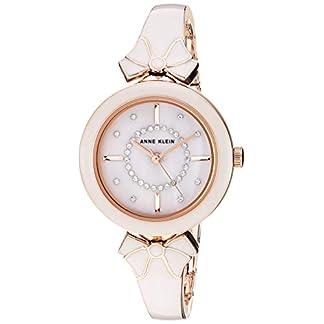 Anne Klein Women's AK/3338GYRG Swarovski Crystal Accented Rose Gold-Tone and Light Grey Bangle Watch