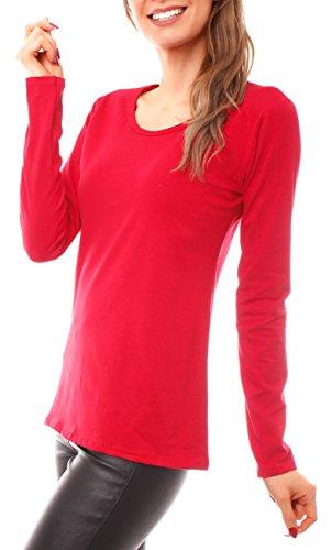 Fragola Moda Damen Basic Cotton Langarmshirt Rundhals Rot