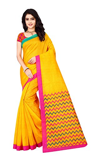 J B Fashion Women's cotton Saree With Blouse Piece (yellow)