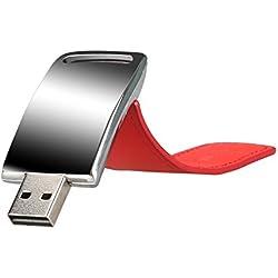 MAXINDA Pendrive 2.0 Cuero Llavero Alta Velocidad (32GB, Rojo)