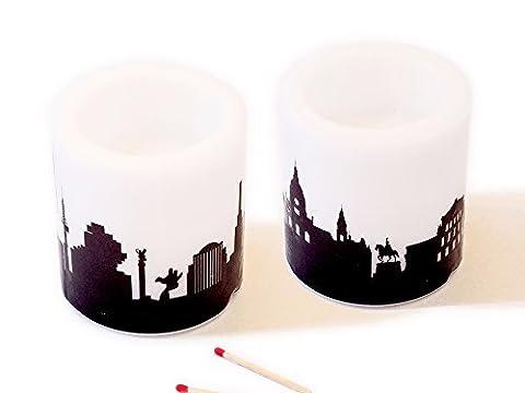 2Bougies Hanovre Skyline noir, Lampion Cire de bougies avec photophores 20heures durée de combustion, excellente idée de cadeau petite Attention souvenirs, décoration de table Event de