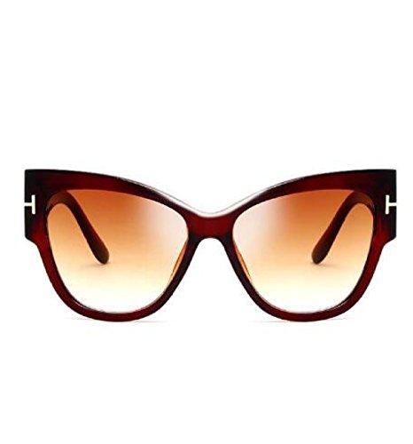 MYLL 2017 Hot Europa Und Den Vereinigten Staaten Personality Cat Eye Lady Sonnenbrille Mit Großem Rahmen Trend Brillen,Tea1-OneSize