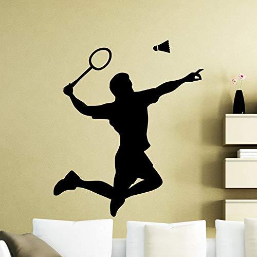 Badminton Spieler Silhouette Wandtattoo Schläger Sport Vinyl Aufkleber Home Room Interior Wohnzimmer 75x88cm