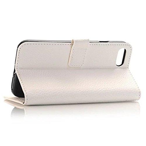 iPhone Case Cover Solide Couleur Case Wallet Haute Qualité Motif Litchi Housse en cuir PU Cover Case Flip Stand pour iPhone Appple 7 ( Color : Rose , Size : IPhone 7 ) White