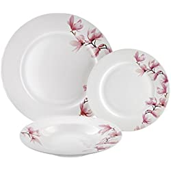Dajar Magnolia-Vajilla de 18Piezas. Ambition, Porcelana, Color Blanco Color Rosa, 48x 30x 31cm,-Unidades
