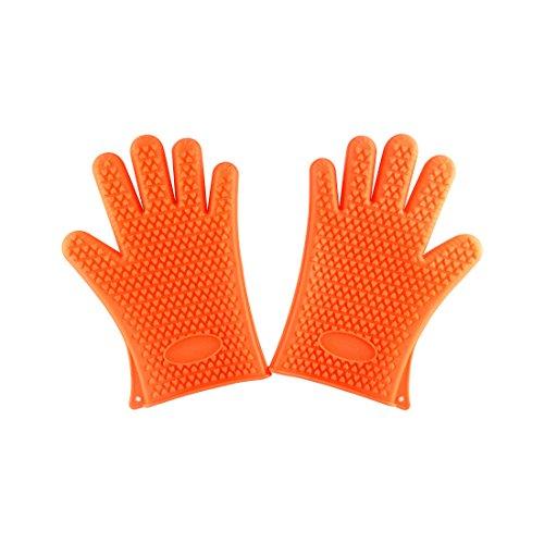 1Paar Home Grill Silikon Hitze Halter Handschuhe Orange (Grill-hitze-handschuhe)