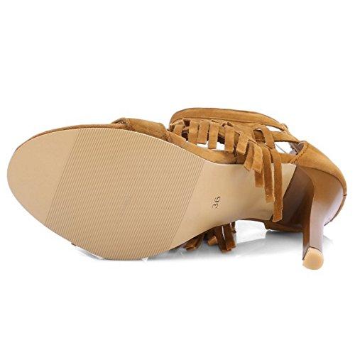 TAOFFEN Damen Mode Open Toe Fesselriemen Sandalen Retro Quasten Schuhe with Reißverschluss Gelb