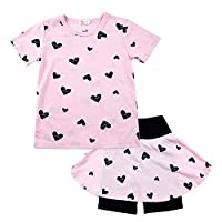 DHASIUE Kids Girls Clothes Set Short Sleeve Cotton Tops T-Shirt + Skirt Pantskirt Heart Print Outfit for Toddler Baby 1-7 Years Pink