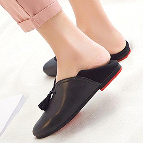 MatchLife Damen Schuh flache klassische Leder flachen tiefen bequemen weichen Schuhe Schwarz-1