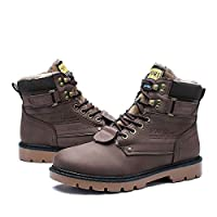 Camfosy Winter Lace Up Ankle Boots, Men,s Warm Non-Slip Comfortable Casual Shoes Synthetic Leather Chukka Boot with Fur Lined Walking Work Footwear,Black Brown Yellow Black 9 UK