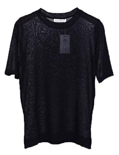 Bigood T-shirt Femme Lin Tricot Chemise Blouse Top Veste Manche Courte Col Rond Transparente Noir
