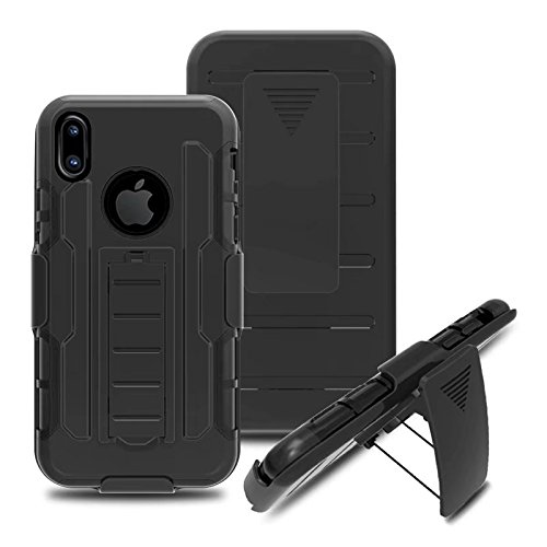 iPhone X Coque, Lantier Shockproof Impact Protection Tough Hard Rugged Heavy Duty Dual Layer Protective Case with Kickstand pour Apple iPhone X (5.8 inch) Red Clip noir