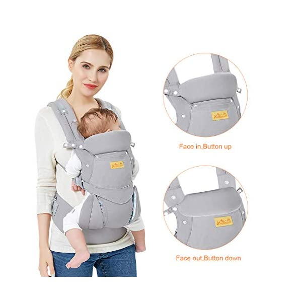 """Viedouce Baby Carrier Ergonomic/Pure Cotton More Lightweight and Breathable/Multiposition: Dorsal and Ventral/Adjustable Headrest/for Newborn and Toddler 3 to 48 Month (3.5 to 20 kg) Viedouce 【Pure Cotton】- All our baby carriers are made of high quality fabric and free from harmful substances. The fabric is breathable, skin-friendly and soft, it is made of premium natural pure cotton to to keep baby's soft skin safe and comfort baby wearing in four seasons. Adequate safety tests ensure the soft fabrics gently hug your baby's back, legs and hips, and provide good support. 【Ergonomic Design】- Our ergonomic backpack carrier makes it easy for you to give your child the closeness and security they need. You can see and feel your baby's position and the natural C curve of their back.Ergonomic Butterfly adjustable seat and leg openings facilitates the thighs, knees and lower legs to be correctly placed and supported in an M shape that prevents """"Developmental Hip Dysplasia"""". 【Waist Belt & Shoulder Straps】- Upgraded wide waist belt and shoulder straps padded with soft material eases pressure on the back and shoulder, releasesing burden in a large extent when you carry your baby. Luxuriously thick and soft padding in the shoulder straps give you superior carrying comfort and prevent straps from slipping off. Adjustable shoulder straps are suitable for moms and dads of all shapes and sizes. You won't feel tired while carrying baby for a long time. 8"""