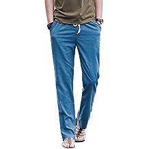 Pantalones de lino para hombre, informales, con cintura elástica con cordón, cómodos, monocolor