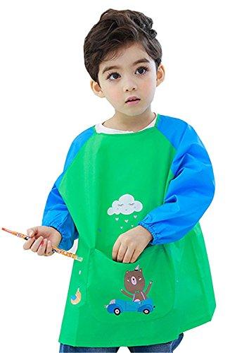 Driverder Große Schürze Küche liefert Kinder Unisex Malerei Schürze Kleinkind Wasserdicht langärmeligen Kittel (Blau) _S