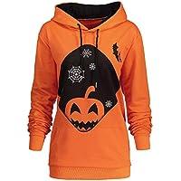 JYC-Sudaderas Para Mujer,Mujer Encapuchado Halloween Calabaza Bolsillo Cordón Impreso Capucha Sudadera Tops
