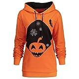 Halloween Sweatshirt Damen Hooded Kapuzenpullover Pumpkin Pocket Kordelzug Bedruckt Hoodie Pullover Tops SANFASHION