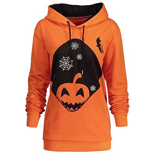 t Frauen Kapuzen Halloween Kürbis Tasche Kordelzug Printed Hoodie Clubbing Bar Grill Party Sweatshirt Tops ()