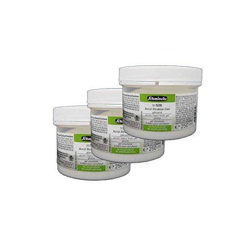 3x Schmincke 250ml Hilfsmittel Struktur-Gel glaenzend Acryl 50 520 048