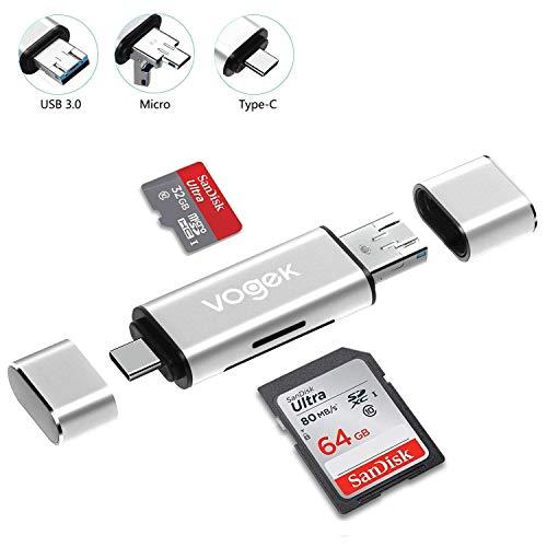 TF/SD USB A 3.0 Kartenleser, Vogek 3 in 1 Externe Kartenlesegerät mit USB A Micro USB und USB A Weiblich für PC/Laptop/Smartphones/Tablets (Silber) (Sd-card-reader Für Android Tablet)