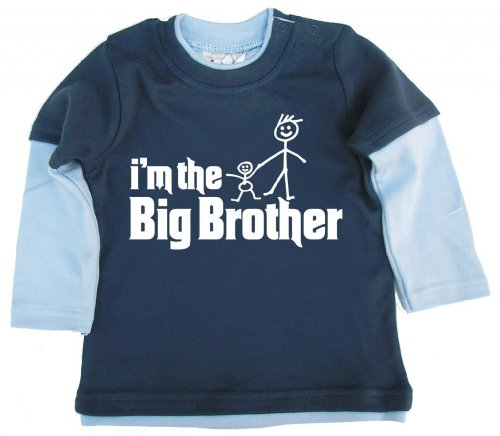 Dirty Fingers Dirty Fingers, I'm The Big Brother, Baby Skater Top, Blau & Hellblau, 12-18m