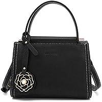 CACTUS Cremallera Cuadrada de la Hebilla de la Correa de la Decoración de Color Puro Bolsos de Las Mujeres Usan Bolsa de Moda Salvaje Hombro Messenger Bag Mobile Handbag, Negro