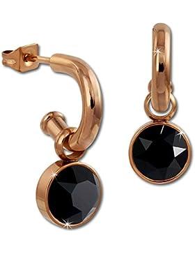 Amello Creolen Stein Edelstahl rosevergoldet Swarovski Elements schwarz Ohrring Edelstahlschmuck Stainless Steel...