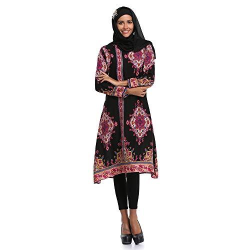 (FRAUIT Muslimische Knielangkleid Damen Islamischer Druck Langes Kleid Plus Size Nahen Osten Traditionell Kleid Religiöser Gläubiger Kleid)