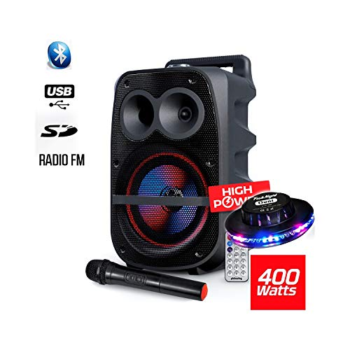 Enceinte Mobile 400W SONO DJ High Power Autonome sur Batterie LED RVB sur Batterie - USB/SD/BT/FM +...
