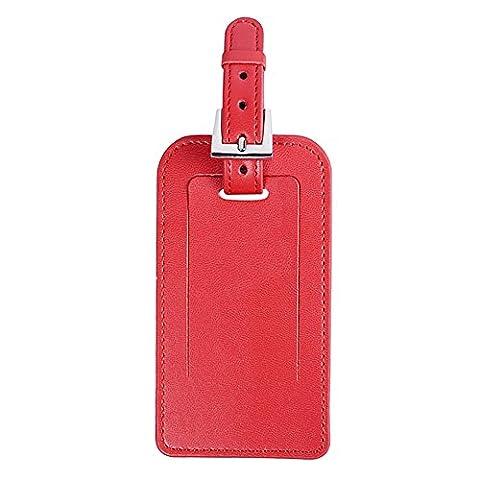 étiquette pour bagage en microfibre, Sac en cuir Tag ID Identificateur étiquettes pour voyage Valise Bagage Valise étiquette Sports Sacs, rouge