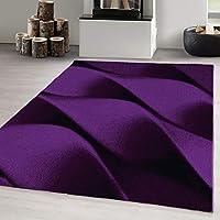 Carpetsale24 DESIGN AREA RUGS SHORT PILE 3D WAVES CARPET LILA, Size:120x170 cm