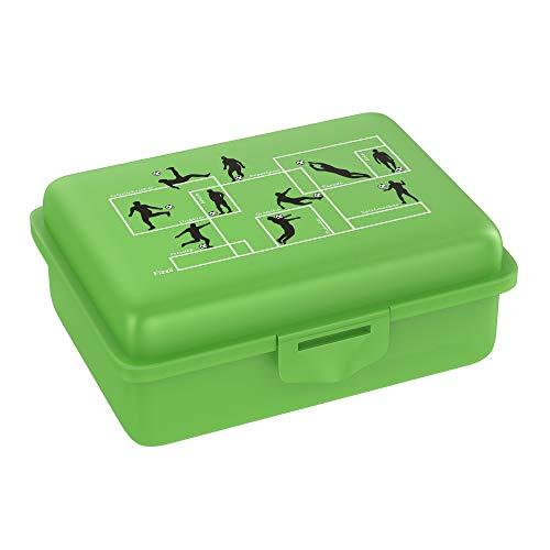 Fizzii Lunchbox (Inkl. Obst-/ Gemüsefach, schadstofffrei,\n spülmaschinenfest, Motiv: Fußball)